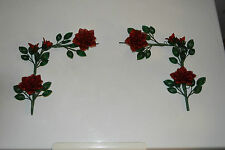 handmade French beaded Flowers home decor red rose corner pieces