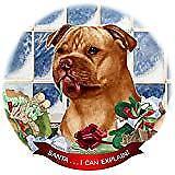 Staffordshire Bull Terrier Orange Dog Porcelain Ornament 'Santa. I Can Explain!'