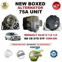 FOR RENAULT CLIO II 1.0 1.2 BB CB D7D D7F 1999-ON NEW 75A ALTERNATOR UNIT