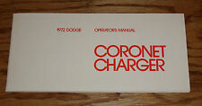 1972 Dodge Charger / Coronet Owners Operators Manual 72