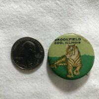 Brookfield Zoo Illinois Tiger Vintage Souvenir Pinback Button #36330
