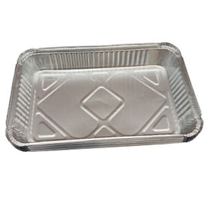 Large Disposable BBQ Aluminum Foil Grease Drip Pans Grill Catch Trays, 410-220ml