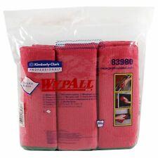 Wypall Microfiber Cloths, Reusable, 15 3/4 x 15 3/4, Red, 6/PK, 4 PK/CT