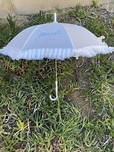 "1980s Personalized ""Jeannette"" Painted Parasol Disneyland Umbrella Ruffled 28"""