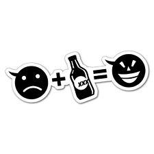 SAD FACE PLUS BEER = HAPPY CAR ESKY FRIDGE STICKER Decal Funny Vinyl Car Bump...