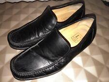 LOAKE Siena Black 100% Leather Loafers UK 8.5 EUR 42.5