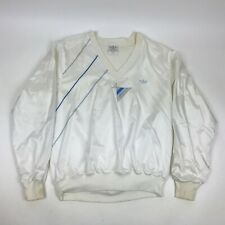 Vtg 80s ADIDAS white PULLOVER Windbreaker TREFOIL V neck Swishy Satin USA Dope