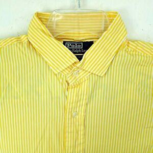 Polo Ralph Lauren Mens L 16.5 Oxford Dress Shirt Yellow Stripe Estate Custom Fit