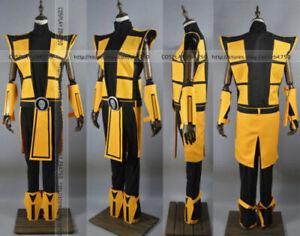 NEW ! Scorpion Mortal Kombat 3 Yellow Outfit Cosplay Costume