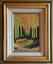 Vintage Original Oil Painting On Gold Leaf By Sharon Higgins. Fallen Tree.
