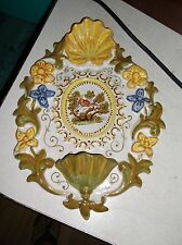 Italian Faience wall holy water plaque with bird,shell and flowers