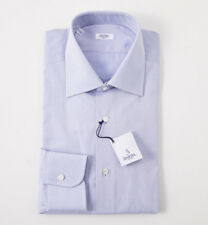 NWT $350 BARBA NAPOLI Blue Diamond Jacquard Cotton Dress Shirt 15.5 x 35