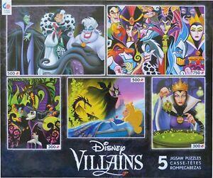 Disney Villains 5 x jigsaws by Ceaco (Halloween) Cruella Maleficent vgc complete