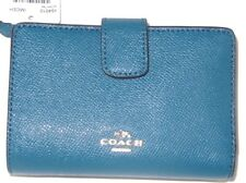 Coach Dark Teal Cross Grain Leather Medium Corner Zip Wallet F54010 NWT $165