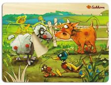 Eichhorn Baby Wooden Toy Pin Puzzle Farm Cow Sheep Duck Farmer 8 parts