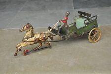 Rare Vintage Wind Up Litho Horse Cart G&K Trademark Tin Toy , Germany