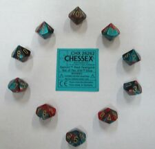 Chessex Dice d10 Sets:Gemini Red / Teal W/Gold Ten Sided Die (10) CHX 26262
