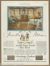 1930 ARMSTRONG LINOLEUM advertisement, wood plank floor linoleum, large size ad