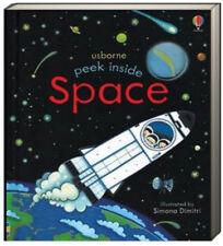 Usborne Peek Inside Space by Simona Dimitri LIft the Flap Book (Board Book) NEW