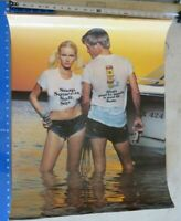 NOS TECATE BEER CAN vintage poster 28x22 Man Woman Boat Ocean Mexico wet T shirt