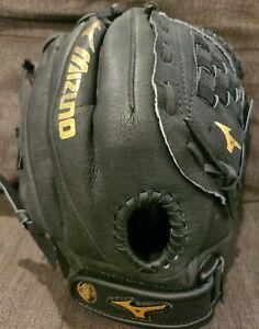 """Mizuno 12"""" Baseball Glove~Black Leather~Right Hand Thrower~PowerLock~Para Shock"""