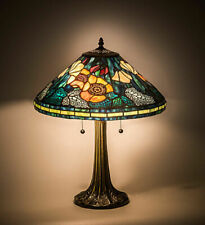 MEYDA TIFFANY STAINED GLASS POPPY CONE TABLE LAMP 119554