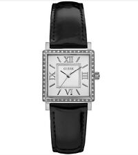 GUESS WOMEN'S HIGHLINE 34MM BLACK LEATHER BAND STEEL CASE QUARTZ WATCH W0829 NEW