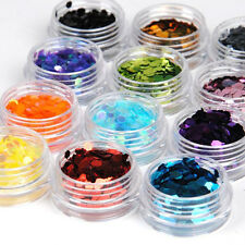 12Colors Manicure Acrylic UV Powder Dust Deco Stamp Glitter Nail Art Deco Kit
