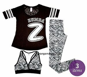 ZUMBA FITNESS 3Pc.Set! Dazzle Me...Leggings,Funky V-BRA TOP, & Burn-Out Tee S M