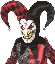 Disfraz de Halloween Asesino Bufón Máscara, Cuello & Sombrero Set Rojo/Negro /