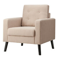 Modern Tufted Accent Chair Fabric Armchair Single Sofa with Back Cushion Beige