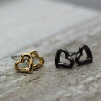 New 18K Gold GP 7mm Cute Love Heart Stud Earrings Girls Women Gift 2 Colours