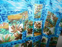 Vtg 60s Waikiki Holiday Men's Aloha Hawaiian Shirt Blue Coconut Palm Trees Med