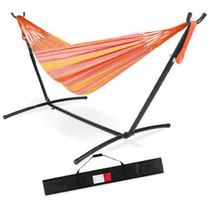 Double Hammock With Stand Hanging Swing Lounger Outdoor Large Carrying Bag