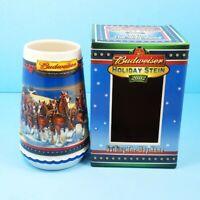 2002 Budweiser Stein Holiday Mug Glass Beer Mug Guiding The Way Home CS529