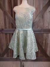 NWT FOREVER UNIQUE Mint Embroidered Sequin Fit & Flare Cocktail Dress 12