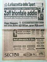 GAZZETTA DELLO SPORT 17-5-1990 JUVENTUS VINCE COPPA UEFA FIORENTINA BAGGIO