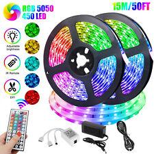 50FT RGB Color Changing Led Strip Light 450Leds Room Lights 5050 SMD Tape Remote