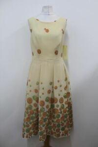 MIKAEL AGHAL Ladies Terracotta Sleeveless Embroidered Pleated US2 UK6 BNWT