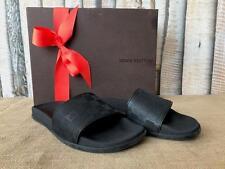 Authentic LOUIS VUITTON Black Rubber Damier Check Slides Sandals Men's SZ 8