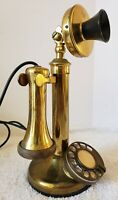 Antique Automatic Electric Company Brass Rotary Dial Candlestick Telephone Phone