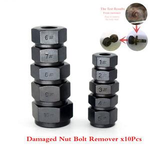 Damaged Nut Bolt Remover Stud Extractor 9-19mm Broken Bolt Removal Kit 10Pcs/Set