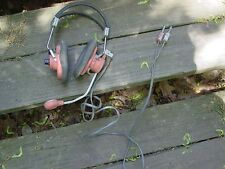 vintage educator head phones with mic pink and gray