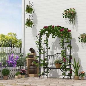 "43""  Outdoor Decor  Climbing Plants Flowers Arch Garden Arbor Trellis with Bench"