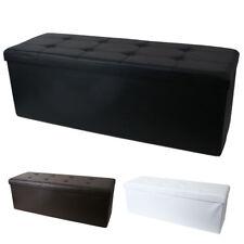 TABURETE ASIENTO Arca Caja de almacenamiento Piel Artificial 110cm Plegable
