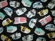 RETRO TRAILER VINTAGE CAMPERS BLACK TRAILERS COTTON FABRIC BTHY