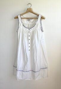 Vtg 80s Eileen West Nightgown Short Sleeveless Cotton Babydoll Petite white USA