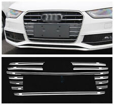 Front Bumper Grille Top Stainless Steel Trim 12pcs For Audi A4 B8 2013-2016
