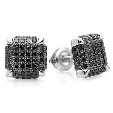 0.50 CT Sterling Silver Black Diamond Dice Shape Hip Hop Cube Mens Stud Earrings