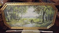 Bild,Kitschbild.Goldrahmen, 20er J, achteckig,gr.Landschaft m. Hirschen,verglast